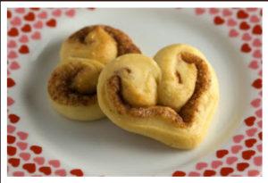 Valentine's Day treats heart shaped cinnamon bun