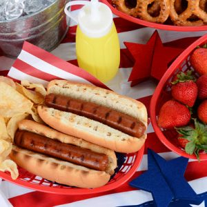 July 4th picnic table with food